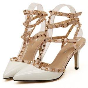 Shoes - Stud Heels - White